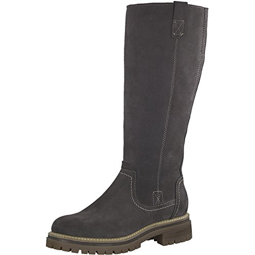 Tamaris Damen Stiefel 26617-21,Frauen Boots,Langschaftstiefel,gefüttert,Reißverschluss,Blockabsatz 3.5cm,Anthracite,EU 37