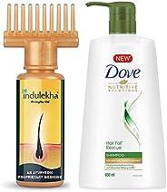 Indulekha Bhringa Hair Oil, 100ml & Dove Hair Fall Rescue Shampoo, 650ml