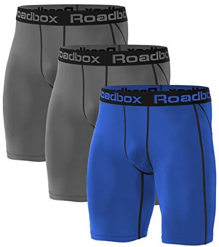 Roadbox 3er Pack Herren Kompressionsshorts, Schnelltrocknendes Baselayer Unterhose Tights Kurz Hose Laufunterwäsche L 3er Pack: Grau, Grau, Blau