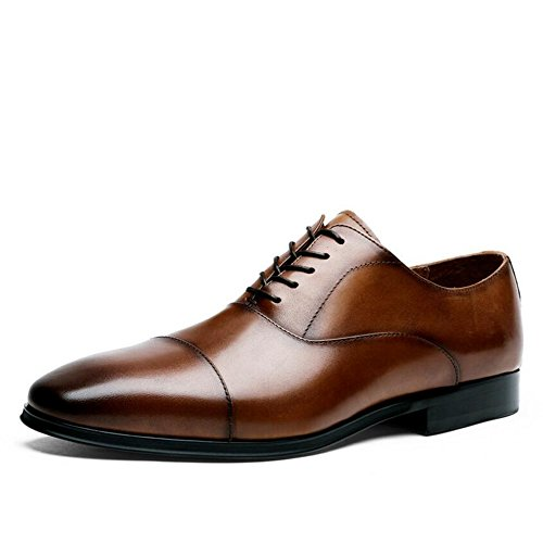 GAOLIXIA Mens Formal/Suit/Kleid Schuhe/Business Schuhe Lace-up Kleid Lederschuhe Casual Hochzeit Spitz erhöhen Größe 6-14 (Farbe : Braun, Größe : 42 EU) (Mens Braun Kleid-schuhe 13 Größe)