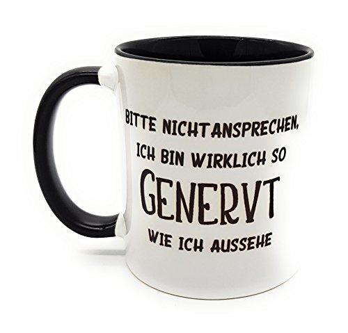 Kilala Büro-Tasse lustiger Spruch Bitte Nicht ansprechen. Kaffeetasse Kaffeebecher inkl Geschenkverpackung schwarz/weiß