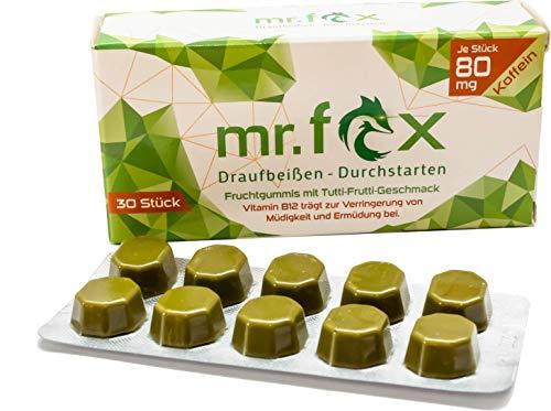 Mr. Fox Koffein Fruchtgummi - Matcha Tee, Taurin und Vitamin B12, zuckerfrei - Koffein zur Steigerung der Konzentration