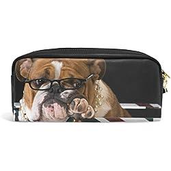 Dokomo PU Cuir Rétro Drapeau Anglais Bulldog anglais Stylo Trousse Pochette Housse Maquillage de voyage Sac d'école