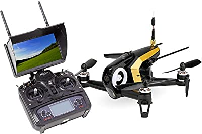 Walkera 15004490 Racing Rodeo 150 RTF Drone Quadcopter FPV with HD Camera, Monitor, Battery, Charger and Devo 7 Transmitter – Black