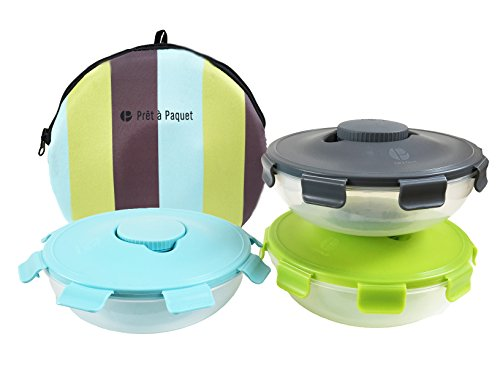 Go Lunch-box Green (Set of 3 Salad Bowls To-Go (Blue- Gray- Green) Thermo-Sleeve & Dressing Container Included ! Easy to Clean & Dry! Perfect Size for your meals! …)