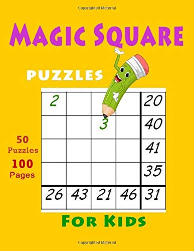 your magic square puzzles For Kids: numbers puzzles featuring solutions