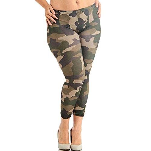 Yuan Frauen Übergröße Elastische Leggings Sportswear Camouflage Drucke Sport Hosen (L, Tarnung) (Print-bluse Capri)