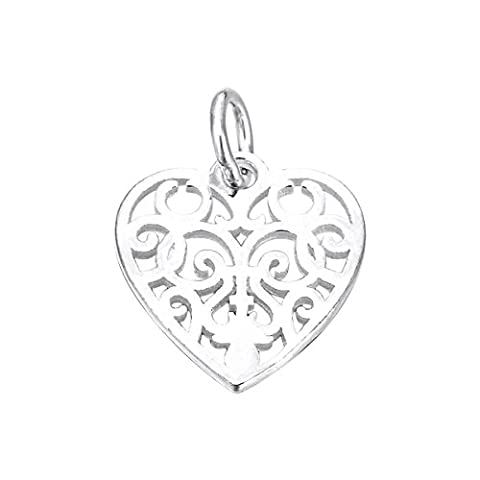 3PCS 925 Sterling Silver Vine Heart Charm for Jewelry Making Finding 15mmx14.5mm