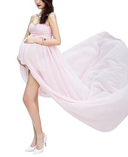*Happy Cherry Sexy Schwanger Fotografie Requisiten Frauen Lange Chiffon Kleider Mutterschaft Fotoshooting Kleidung Lang Kleid Schwangerschafts Maxikleid Dress, Rosa*