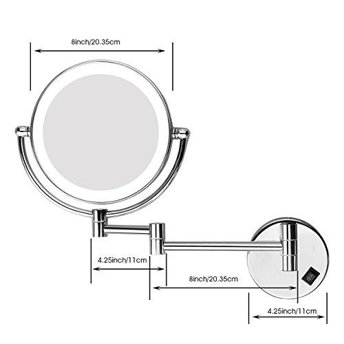 Excelvan espejo de maquillaje de ba o con luz led montaje for Espejo de aumento para bano