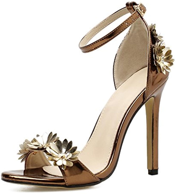 Zapatos de Mujer Sandalias de Tacón bajo Sandalias de Estilo Romano Hueco Sandalias de Moda al Aire Libre de Verano... -