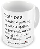 Dear Dad Thanks 4 Putting Up With My Sibling Funny Novelty Gift Mug