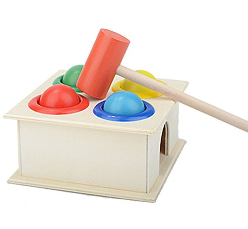 Vi.yo Kids Hammering Game Wooden Hammer and Balls Colorful Ball Hammer Box Children Early Learning Educational Toy 41dg4ya8MBL
