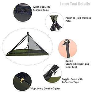 GEERTOP Tenda da Viaggio Piramidale Ultraleggera 1 Persona 3 Stagioni - 210 x 90 x 105 cm – per Campeggio Trekking e Scalata (BASTONE NON INCLUSO) (Orange, Telo interno)
