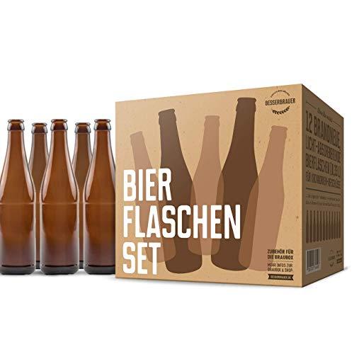 Bierflaschen-Set: 12 x 330 ml Glasflaschen, braun mit UV-Schutz ● Qualität von Besserbrauer - Leere Bier Flaschen