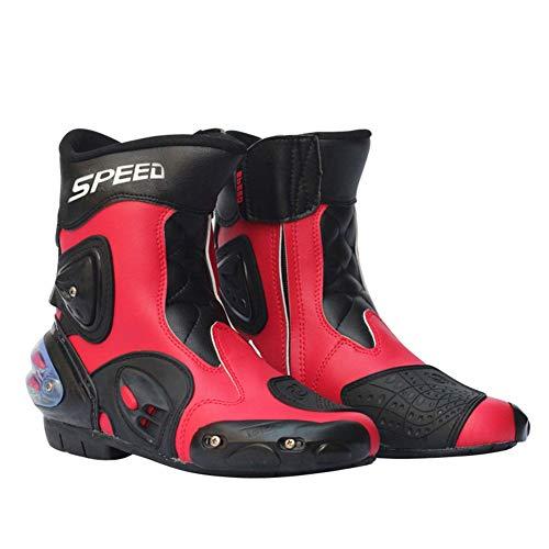 JYY Stivali da Moto per Uomo Stivali da Motocross Stivaletti Corti da Stilista Racing Morbido Antiscivolo Impermeabile,Red-EU40