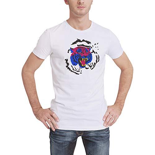 TMOTYE Blusen Men Herren T-Shirt Rundhals Kurzarm Bluse Sportshirt Weiß Sommer -