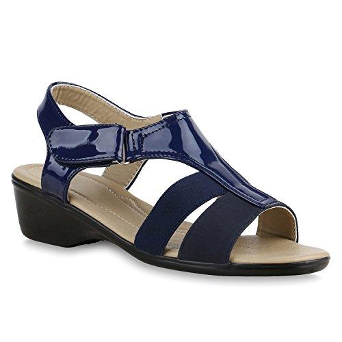 Klassische Damen Sandaletten Lack Lederoptik Schuhe Dunkelblau
