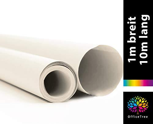 OfficeTree Rollo de Papel de Seda de 10 m de Largo y 100 cm de Ancho - Blanco - Transparente - Cortado como un Profesional - Más Divertido con el Dibujo Diseño de Artesanía