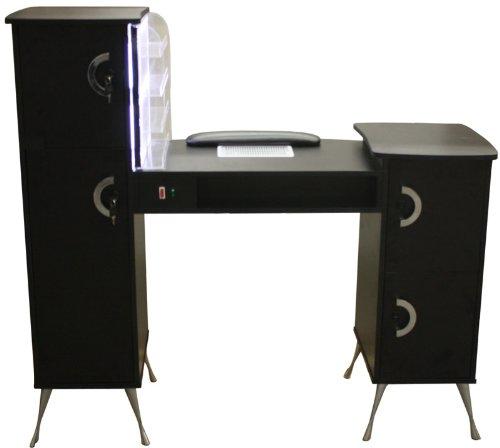 Maniküre-Tresen Maniküretisch mit Absaugung, LED beleuchteter Kleinkramablage, Farbe weiß