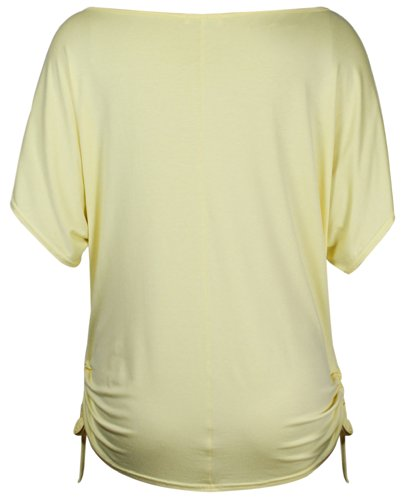 Damen Geblümt Schmetterling Bedruckt Damen Kurz Flügelärmel Seitliche Rüschen Verstellbar Krawatte T-Shirt Top Übergröße Gelb