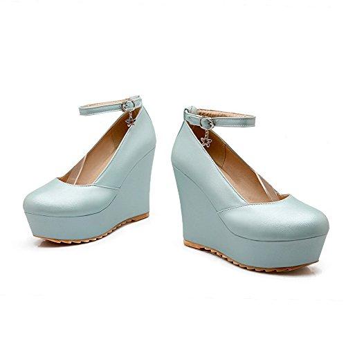 VogueZone009 Damen Hoher Absatz Rein Schnalle Rund Zehe Pumps Schuhe Blau