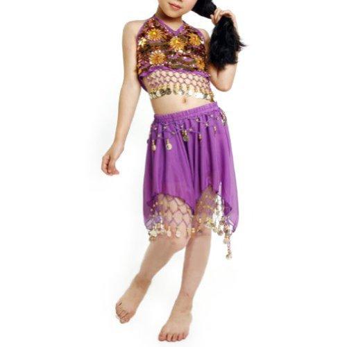 Kostüm Dance Verkauf Für Tribal - TopTie Kid 's Tribal Belly Dance Girl Rock & Neckholder Top Set, Halloween Kostüme, Violett, DDCH-DK54043_Purple-M