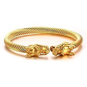 Vnox Uomo Acciaio Di fronte Dragon Head Wire vichingo polsino del braccialetto dell'oro