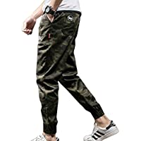 cheyuan Hombres con Múltiples Bolsillos Pantalones Harem, Camuflaje A Juego/Pantalones De Color Puro,Letras Impresas Pantalones Rectos