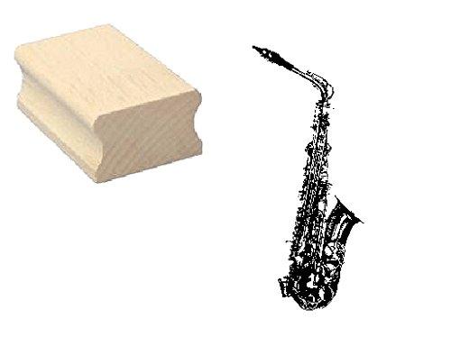 Stempel Holzstempel Motivstempel « SAXOPHON » Scrapbooking - Embossing Musik Musiker Komponist Jazz Blasinstrument