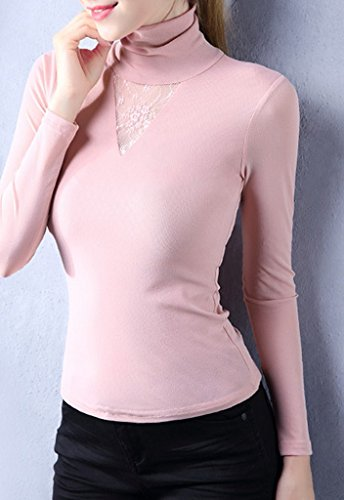 Smile YKK Top Femme Dentelle Tulle Pull Col Montant T-shirt Manches Longues Grande Taille Rose
