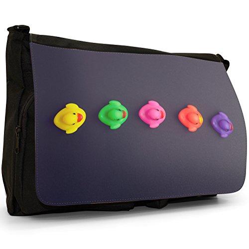 Lifetime-Paperelle di gomma per vasca da bagno Bubble, colore: nero, Borsa Messenger-Borsa a tracolla in tela, borsa per Laptop, scuola Multi Coloured Ducks