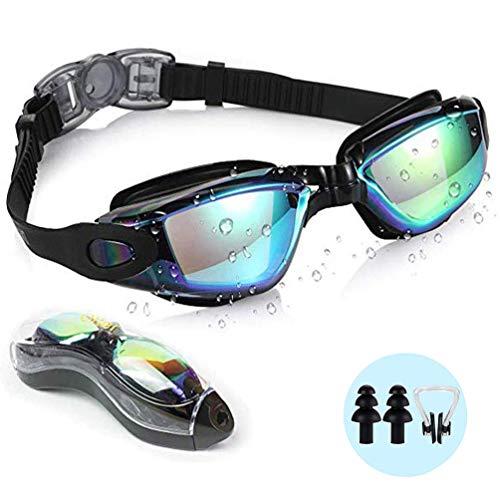 Lachesis Schwimmbrille, verspiegelte Schwimmbrille Kein Auslaufen Anti-Fog UV-Schutz Triathlon-Schwimmbrille mit kostenlosem Schutzetui für Erwachsene Männer Frauen Jugend Kinder