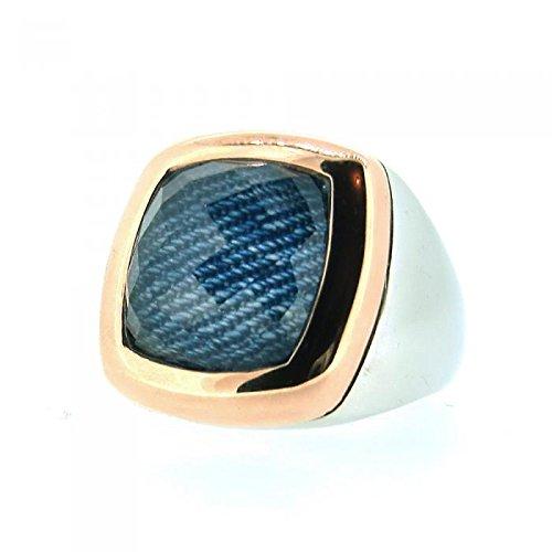 Tirisi Ring mit Jeans-Bergkristalldoublette 750 RG / 925 AG #56-58 -