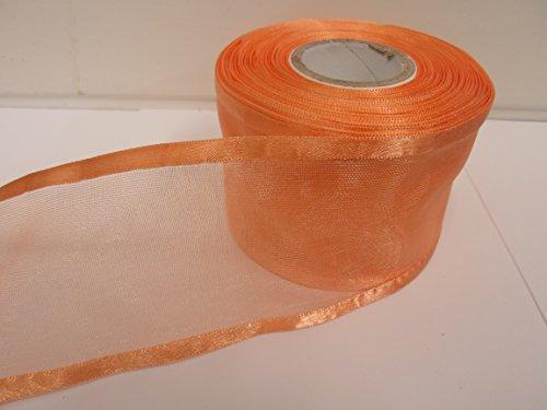 2m x 70mm eingefasst Organzaband, dark peach, doppelseitig, Satin Edge, 70mm (Peach Doppelseitiges Satin-band)