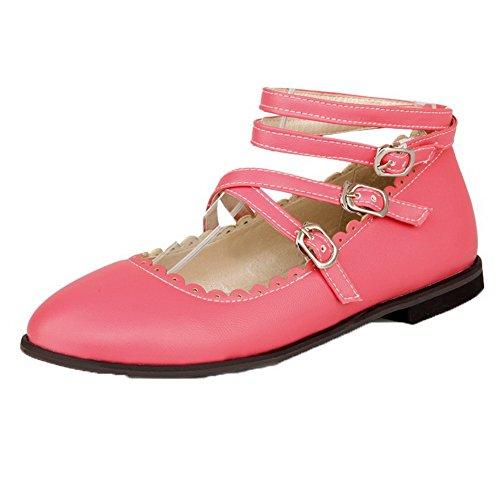 le Low-Heels PU Gerafft Rund Zehe Pumps Schuhe, Pink, 31 ()