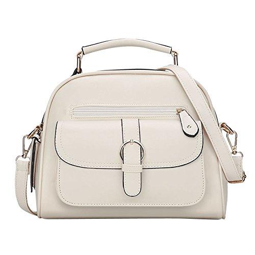 LaoZan Borsa A Mano Bauletto Da Donna Elegante Design Messenger Bag Nero Beige