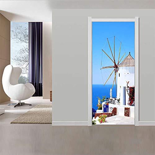 JUDFNHJ Griechischen Homestay Tür Aufkleber Tapete Wohnzimmer Schlafzimmer PVC Wasserdicht Selbstklebende DIY Abziehbild Abziehbilder Paste Großhandel
