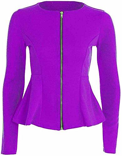 Femmes Neuf Uni Manches Longues Fermeture éclair Péplum À Volant ajusté Veste Blazer Haut taille 8-24 Violet - Violet