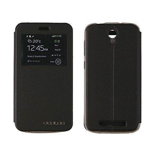 PREVOA ® 丨Flip PU S- View Hülle Cover Case Schutzhülle Tasche für DOOGEE Valencia2 Y100 Plus 5.5 Zoll Smartphone - (Schwarz)