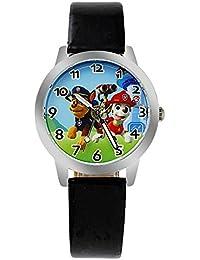 Reloj de pulsera para niños con correa de piel para niños y niñas, reloj de cuarzo casual, para niños y perros, con diseño de dibujos animados, color negro