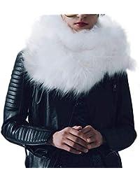 b417cb0816e6 rlorie Écharpe en Fausse Fourrure À La Mode pour Femmes, Couleur Unie Et  Moderne,