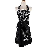 G2PLUS Delantal de mujer bonito con estampado floral, de algodón, a la moda, con bolsillos
