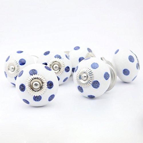 Juego de 6 pomos de cerámica con diseño de lunares
