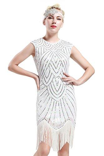 BABEYOND Damen Kleid voller Pailletten 20er Stil Runder Ausschnitt Inspiriert von Great Gatsby Kostüm Kleid  (M (Fits 72-82 cm Waist & 90-100 cm Hips), Weiß)