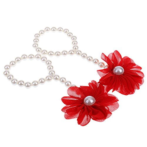 Magideal Baby Pearl Barefoot Toddler Foot Flower Beach Sandals Anklet Chain Red