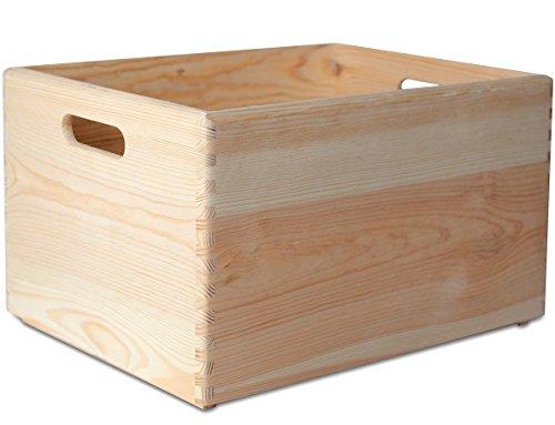 Creative Deco XXL Grande Caisse Boîte de Rangement Bois | 40 x 30 x 24 cm | Non Peinte Malle Coffre pour Décorer | avec Poignées | Parfait pour Jouets, Outils, Documents et Objets