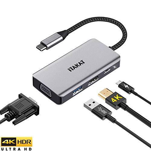 iTAKAT USB 3.1 Typ C zu HDMI VGA Adapter, USB C Hub mit 4K HDMI, 1080P VGA, USB 3.0, PD Pass-Through-Aufladung, Dual-Screen-Display für Mac Pro, iPad Pro und andere Laptops mit Thunderbolt 3 Port -