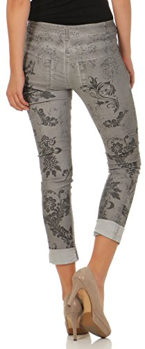 malito Damen Jeans mit Blumen Muster   Hose mit Strass   Stretch Jeans im Denim Look   Joggjeans �?Slim fit H216 Hellgrau