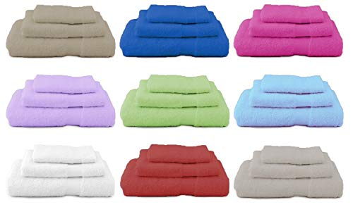 Demona set tris asciugamani completo irge bagno riga hotel b&b alberghi telo 1doccia+1viso+1ospite offerta vari colori 100% cotone italiano (bianco)